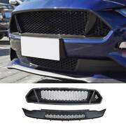 Fit For Ford Mustang 2018-2021 Gt Paint Black Front Mesh Grille Grill Cover 2pcs