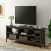 Wampat Farmhouse Tv Stand For 75'' Flat Screen , Wood Tv Console Table Storage C