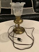 Vintage Leviton Brass Glass Covered Plug In Lamp