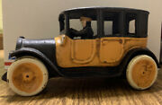 """9"""" Arcade Cast Iron Yellow Taxi Cab With Driver 1920s Replica"""