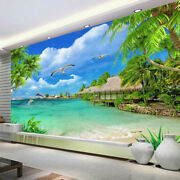 3d Beach Front Palm Trees Sea View Wall Mural Wallpaper Living Room Bedroom