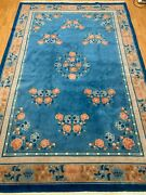 6'7 X 10' Antique Chinese Art Deco Oriental Rug - 1940s - Hand Made - 100 Wool