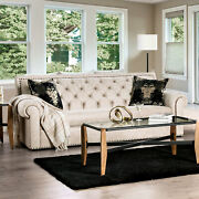 Beige Fabric 2pc Sofa Love-seat Pillows Tufted Couch Traditional Living Room Usa