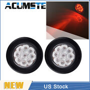 2× Red/clear 2 Round 9 Led Truck Side Marker Lights Clearance Lamp Waterproof