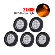 5 Amber Light 2 Round 9 Led Truck Side Marker Lights Clearance Lamp Waterproof