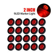 10pcs X Red 2 Round 9 Led Truck Side Marker Light Clearance Lamps Waterproof