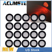 20× Red/clear 2 Round 9 Led Truck Side Marker Lights Clearance Lamp Waterproof
