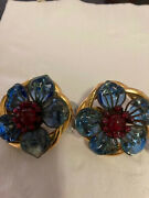 Large Flower Clip On Vintage Earrings Limited Edition