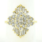 Vintage 14k Gold 2.34ctw Marquise Round Baguette Diamond Cluster Ballerina Ring