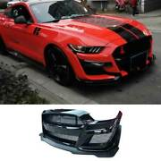 For Ford Mustang 2015-2017 Gt500 Mp Primer Black Front Center Mesh Grille Grill