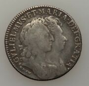 1693 Great Britain William And Mary Shilling Km 480 Silver Coin