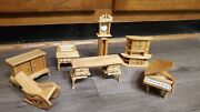 Large Lot Of Wooden Miniature Doll House Furniture Clock Chair Piano Hutch More
