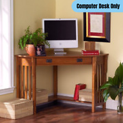 Traditional Corner Computer Desk W/ Drawer Shelf Home Office Work Table Brown