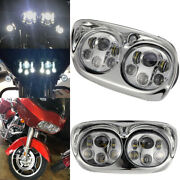 Motorcycle Projector Dual Led Headlight Chrome For Harley Road Glide 2004-2013