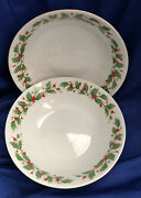 Noel By Liling Set Of 2 Serving Bowls Holly Berry Theme Fine China Pearl Tm