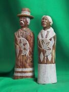 Navajo Man And Wife Statue By H. Joe - Magnificent