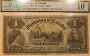 1900 Dominion Of Canada Dc-16 4 Sn A0710 Pmg Vg-10 - Scarce