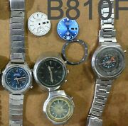 4pc Seiko Chronograph 6139 7015 And Citizen 8110 Automatic Parts Watch Run Asis