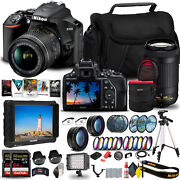 Nikon D3500 Dslr Camera With 18-55mm And 70-300mm Lenses 1588 + 4k Monitor +