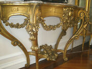 Royalty Rare French Antique Louis Xv 19th C Gilt Carved Marble Top Console Table