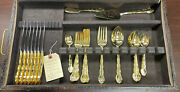 Gold Plated International Silverware Sets With Gorham Box - 45 Pc - 7 Full Sets