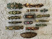 Vintage Lot Of 15 Hair Clips All Made In France W/ Stamp Rhinestone Barrette
