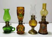 Vintage Lot Of 4 Different Mini Glass Oil Lamps With Shades