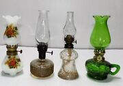 Lot Of 4 Different Mini Glass Oil Lamps