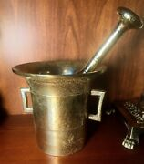 19th Century Russian Apothecary Mortar And Pestle Brass