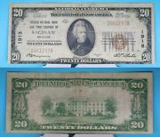 1929 20 Banknote Second National Bank And Trust Company Of Saginaw Mi Cut Error