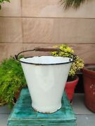 Old Vintage White Enamel Porcelain Laundry Bucket Without Lid Collectible
