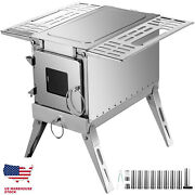 Outdoor Wood Stove Ss304 Portable Camping With Pipe For Vented Tent Cooking Camp