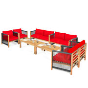Gymax 8pcs Acacia Wood Outdoor Patio Furniture Conversation Set W/ Red Cushions