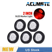 5 X Marker Lights Clearance Lamp Waterproof Red/clear 2 Round 9 Led Truck Side