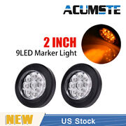 2x Amber/clear 2 Round 9 Led Truck Side Marker Lights Clearance Lamp Waterproof