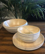 10 Piece Tommy Bahama Melamine Wood Grain Serving Bowls And Dinner Plates Nwt