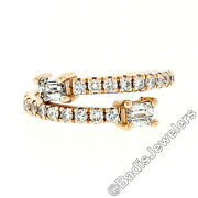 Neuf 14k Rose Or Andeacutemeraude Coupe And Diamant Rond Moi Et Toi Bypass Pile Bande
