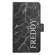 Personalised Initials Pu Leather Phone Case Name Black Marble Side Flip Cover