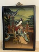 Vintage Asian Chinese Reverse Painting On Glass Depicting 2 Girls Reading A Book
