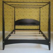 King Ethan Allen American Impressions Pencil Post Canopy Bed 24 5641 Satin Black