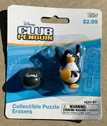 Disney Club Penguin Collectible Puzzle Erasers - Black Puffle And Ninja New Topps