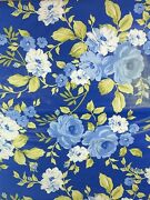 Floral Vinyl Flannel Back Tablecloth 60 Round Blue White Flowers On Blue
