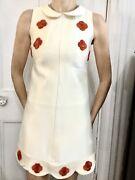 Courreges Dress Mini White With Embroidered Red Roses1960andrsquos Size 0