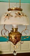 Rare Antique Bradley And Hubbard Hanging Parlor Oil Lamp Beautiful -electric