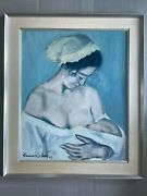 Vintage Masterpiece Maternite Oil On Canvas By Francisco Sillue 1963 Framed