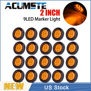 20× Amber 2 Round 9 Led Truck Side Marker Lights Clearance Lamps Waterproof New