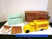 Vtg Marx Toys Diecast Plastic Truck 1940and039s Yellow Coca-cola Truck With Cases