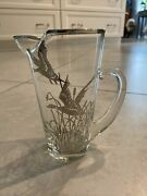Vintage Sterling Silver Overlay Glass Ducks Martini Pitcher 6 Inch