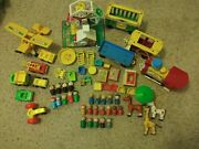 Vintage Fisher Price Little People Huge Lot Trains Ferris Wheel Cars And More