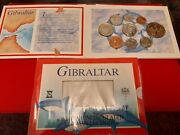 Very Rare 2002 Gibraltar Full Set 9 Coins Cannon £2 And Dolphins 50p Bunc As Pics.